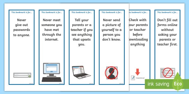 Online Internet Safety Bookmarks  Bookmark Bookmark Template