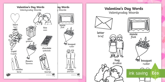 Valentine S Day Words Colouring Pages English Afrikaans Love
