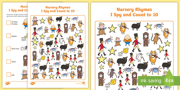 NEW * Nursery Rhymes I Spy and Count Activity to 10