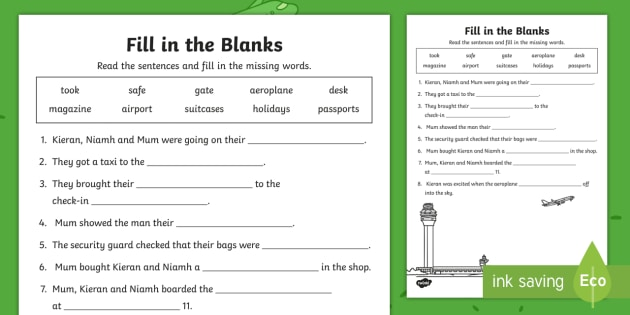 Up, Up and Away! Fill in the Blanks Worksheet / Activity Sheet