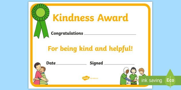 kindness award certificate kindness award certificates