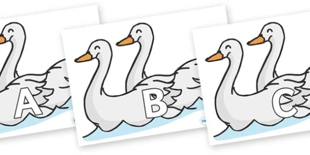 A-Z Alphabet on Swans - A-Z, A4, display, Alphabet frieze, Display letters, Letter posters, A-Z letters, Alphabet flashcards