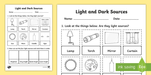 Printable Light Worksheets : Light and dark sources cut stick activity sheet