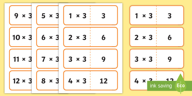 3 Times Table Cards Times Table Times Tables Cards 3 Fold