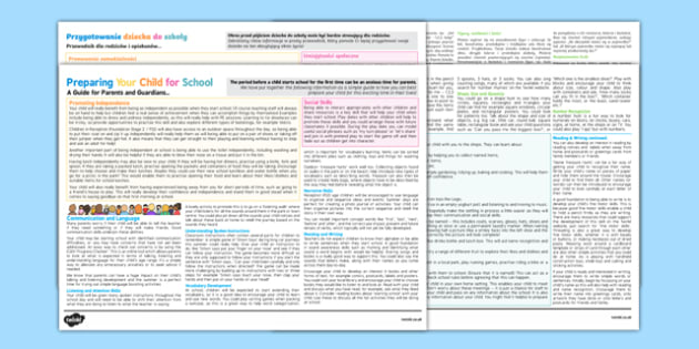 Preparing Your Child for School: A Guide for Parents Leaflet Polish Translation - polish, Nursery Transition, reception transition, pre-school transition