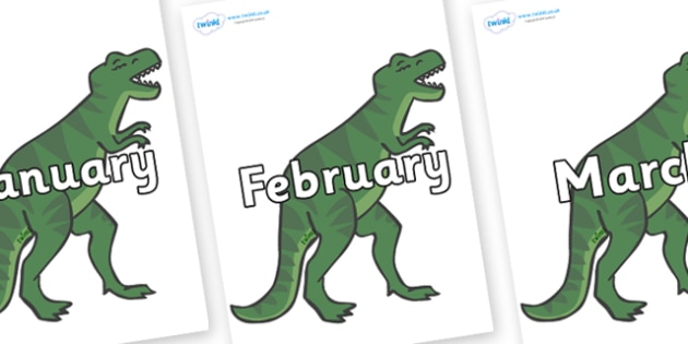 Months of the Year on T-Rex - Months of the Year, Months poster, Months display, display, poster, frieze, Months, month, January, February, March, April, May, June, July, August, September