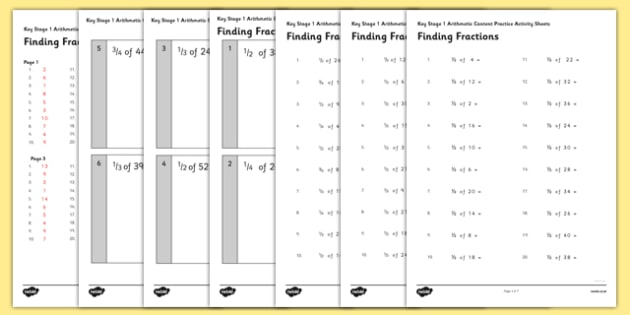 KS1 Arithmetic Content Practice Activity Sheet Pack Finding Fractions of Quantities - Maths, KS1, Key Stage 1, Arithmetic, fractions, half, quarter, third, three quarters, worksheet