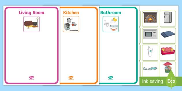 Kitchen Bedroom Bathroom And Living Room Sorting Activity