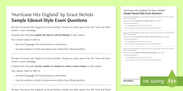 Gcse Poetry Edexcel Style Sample Exam Questions To Support