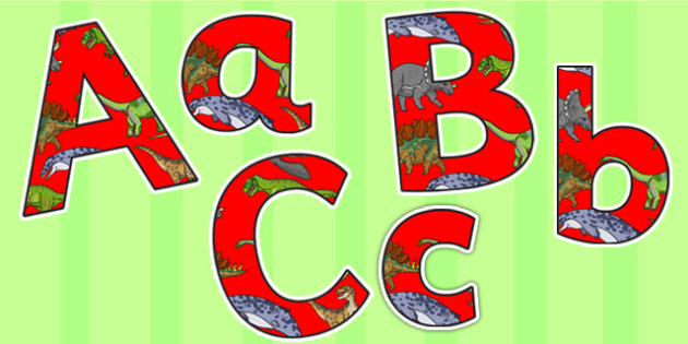 Realistic Dinosaurs Small Lowercase Display Lettering - dinosaurs