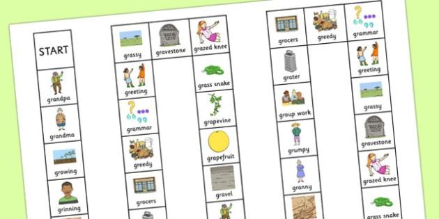 Two Syllable GR Board Game - sen, sound, gr sound, gr, two syllable, board game