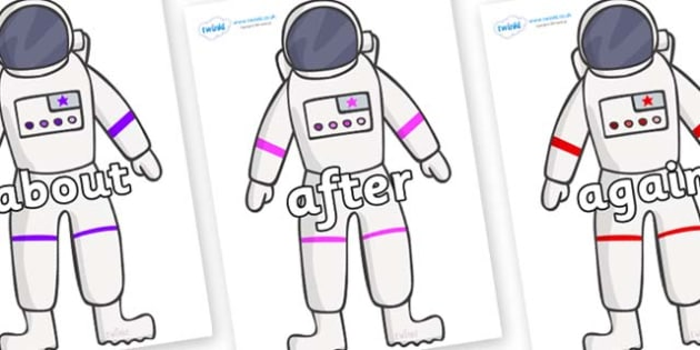 KS1 Keywords on Astronaut - KS1, CLL, Communication language and literacy, Display, Key words, high frequency words, foundation stage literacy, DfES Letters and Sounds, Letters and Sounds, spelling