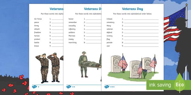 Veterans Day Alphabet Ordering Activity Sheet