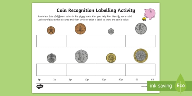 new coin recognition labelling activity sheet eyfs early. Black Bedroom Furniture Sets. Home Design Ideas