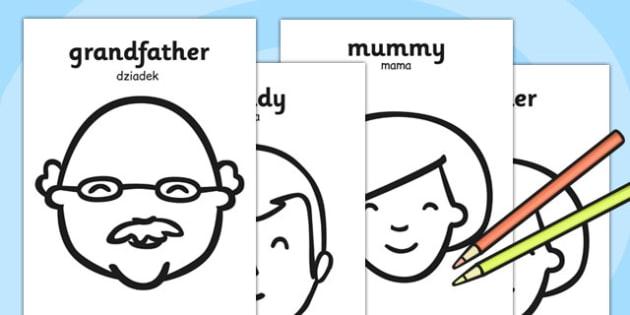 My Family A4 Colouring Posters Polish Translation - polish, my family