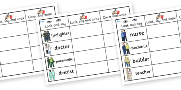 People Who Help Us Word Practice Worksheets - people who help us, people who help us practice sheets, people who help us look say and write sheets