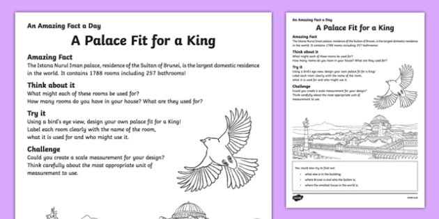 A Palace Fit for a King Worksheet / Activity Sheet, worksheet