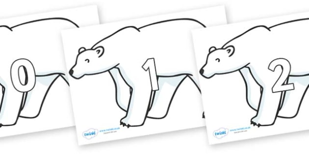 Numbers 0-100 on Polar Bears - 0-100, foundation stage numeracy, Number recognition, Number flashcards, counting, number frieze, Display numbers, number posters