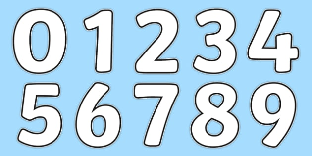 Blank A4 Display Numbers - numbers, display numbers, display
