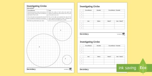 Discovering Pi Worksheet Ks4 Ks3 Secondary Maths Resources