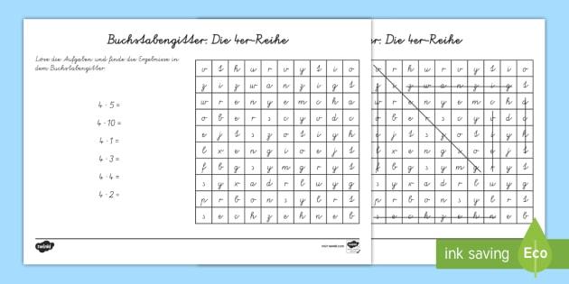 Buchstabengitter: Die 4er Reihe Arbeitsblatt - Wortgitter