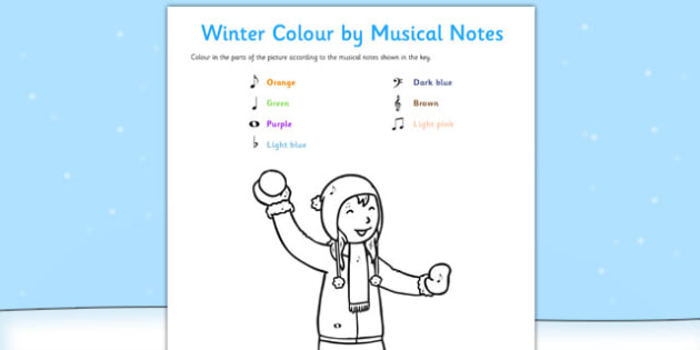 Winter Colour by Musical Notes Activity Sheet - colour, musical notes, activity, sheet, winter, worksheet
