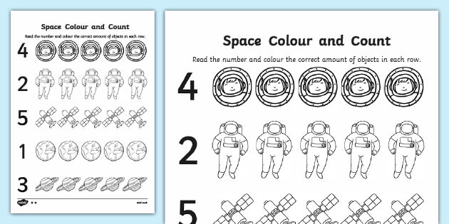 Higher Ability Space Themed Count And Colour Sheet