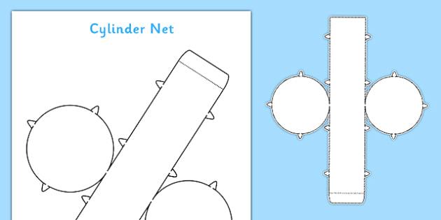 3D Net for Cylinder - cylinder, net, 3D, shape, cut out, maths, 3D shape, net, cylinder