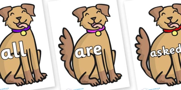Tricky Words on Dog - Tricky words, DfES Letters and Sounds, Letters and sounds, display, words