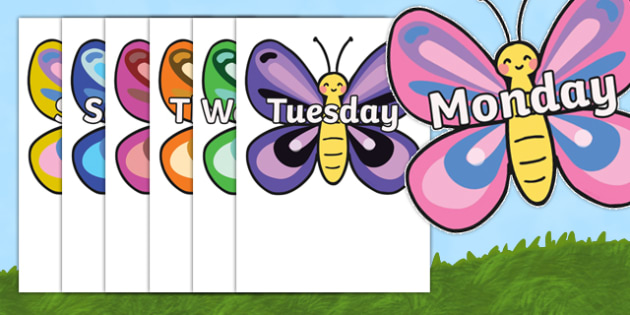 Days of the Week on Butterflies - Butterfly, Weeks poster, Months display, display, poster, frieze, Days of the week