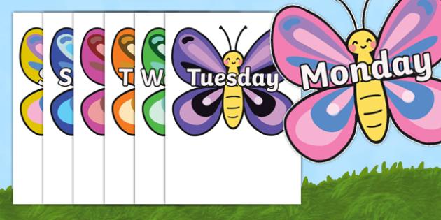 days of the week on butterflies butterfly weeks poster rh twinkl co uk days of the week clip art free days of the week calendar clipart