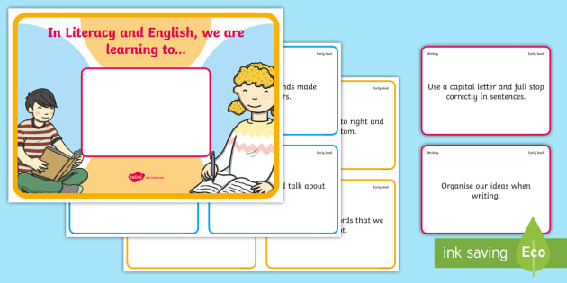 'We Are Learning To' Early Level Literacy and English Display Poster - We are learning to, learning intentions, Success Criteria, WALT, WILF, Shared learning intentions, b