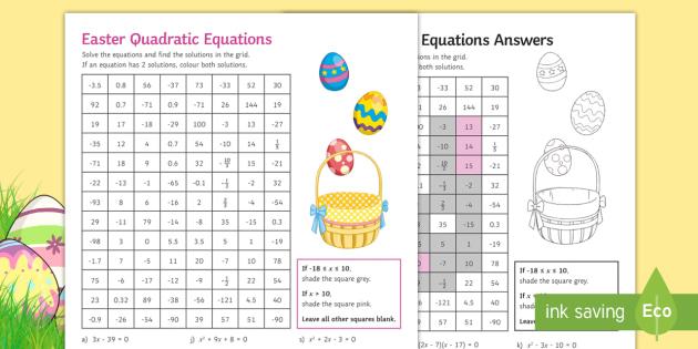 Maths Easter: Solving Quadratic Equations Mosaic