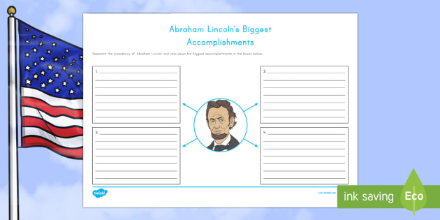 Abraham Lincoln's  Biggest Accomplishments Writing Activity Sheet - American Presidents, American History, Social Studies, Barack Obama, Lyndon B. Johnson, Franklin D.