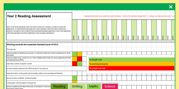 *NEW* Y2 Interim Assessment Spreadsheet Reading Writing Maths Science - read, write, math, science, ks1, assessment, tracking