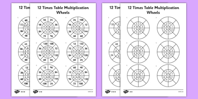 12 Times Table Multiplication Wheels Worksheet Activity Sheet