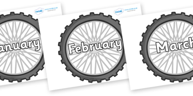 Months of the Year on Wheels - Months of the Year, Months poster, Months display, display, poster, frieze, Months, month, January, February, March, April, May, June, July, August, September
