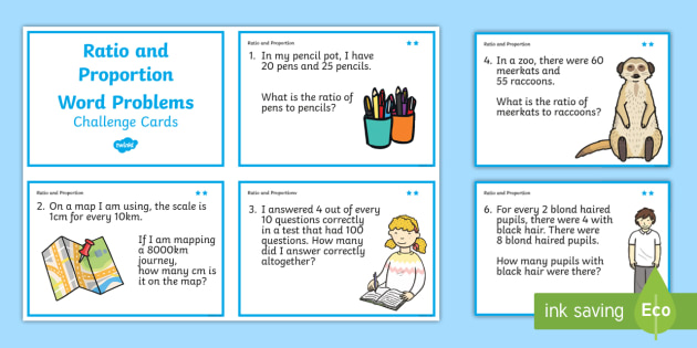 Ratio and Proportion Maths Challenge Cards - ratio, maths