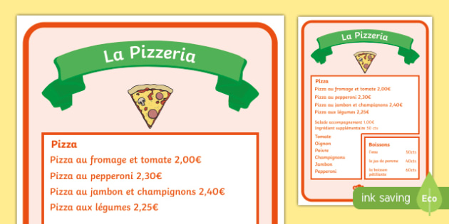 Pizza Parlour Role Play Menu French  Pizza Parlour Role Play