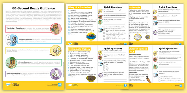 KS1 BBC Children in Need 60-Second Reads Activity Pack