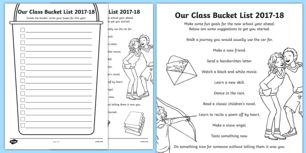 Our Class Bucket List 2016-17 Activity Sheet-Scottish, worksheet