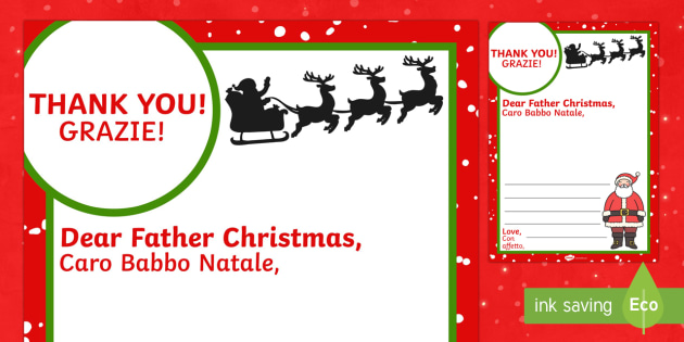 Thank You Letter To Father Christmas English Italian Thank You Letter To