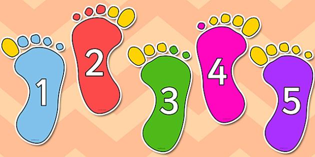 1-10 Footprints - numbers, 1-10, footprints, display, feet, foot