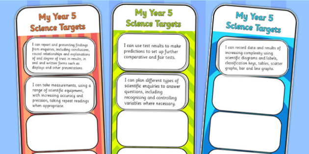 2014 Curriculum Year 5 Science Assessment Bookmarks and Cut Outs