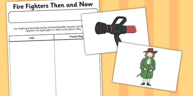 Fire Fighters Then and Now Worksheet - fire, fighters, then, now