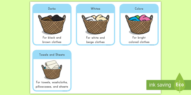 Clothes Sorting By Color ~ Laundry sorting picture cards darks dirty clothes whites
