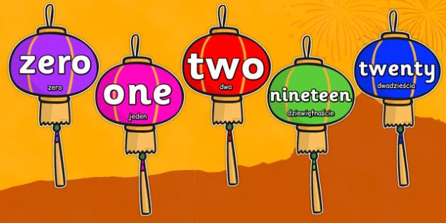 Numbers Zero To Twenty On Chinese Lanterns Polish Translation - polish, chinese new year, numbers, chinese lanterns