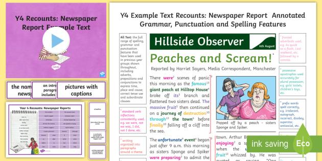 y4 recounts  newspaper report example text
