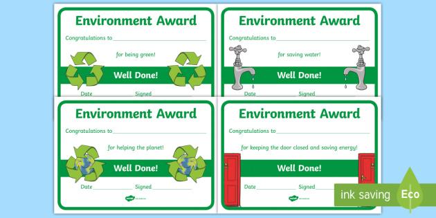 Free Environment Certificates Environemnt Certificate Award