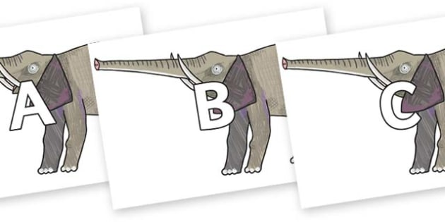 A-Z Alphabet on Elephant to Support Teaching on The Bad Tempered Ladybird - A-Z, A4, display, Alphabet frieze, Display letters, Letter posters, A-Z letters, Alphabet flashcards
